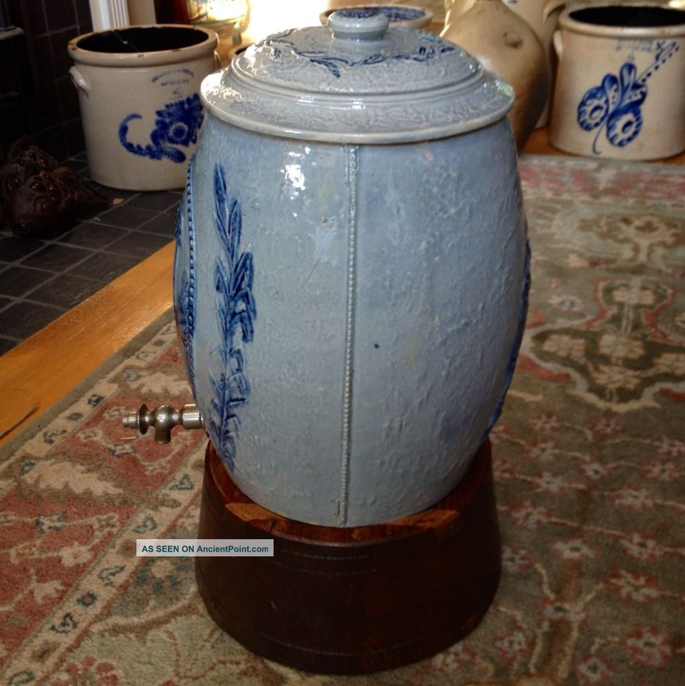 Antique Stoneware: 4gal  Water Cooler, Robinson Clay, Ca