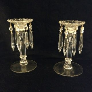 Pair Antque Pressed Glass Candle Sticks With Crystals 8in High photo