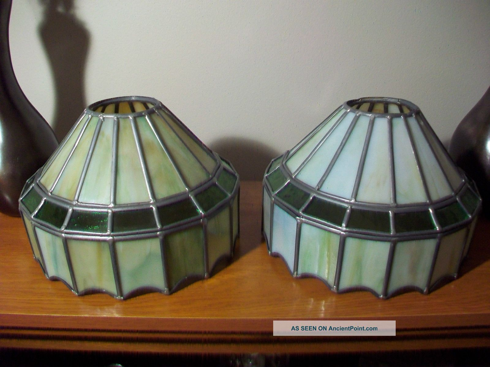 Antique Vintage Green Stained Glass Slag Glass Lamp Shade Globe Ceiling Light
