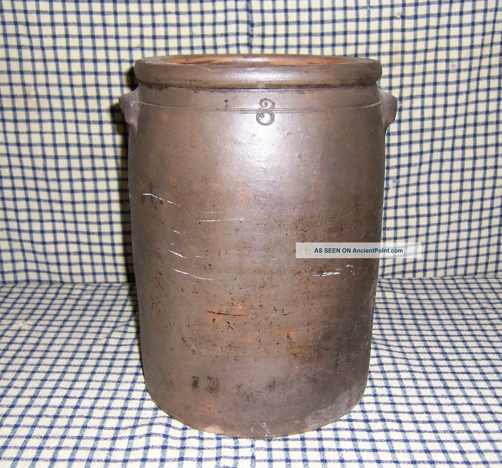 Antique 1800s Salt Glaze Stoneware Crock With Handles Crocks photo