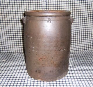 Antique 1800s Salt Glaze Stoneware Crock With Handles photo