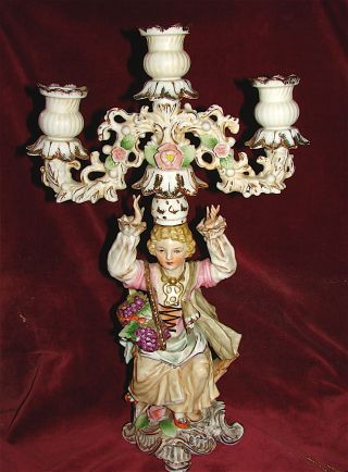 Handpainted Porcelain Figural Candelabra Nc Mark photo