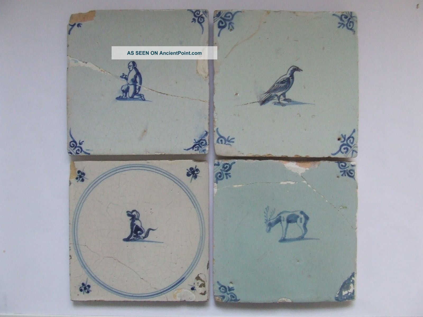 4 Dutch Delft Tiles With Small Animals 17th C.  +++++++++++++ Tiles photo