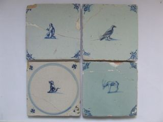 4 Dutch Delft Tiles With Small Animals 17th C.  +++++++++++++ photo