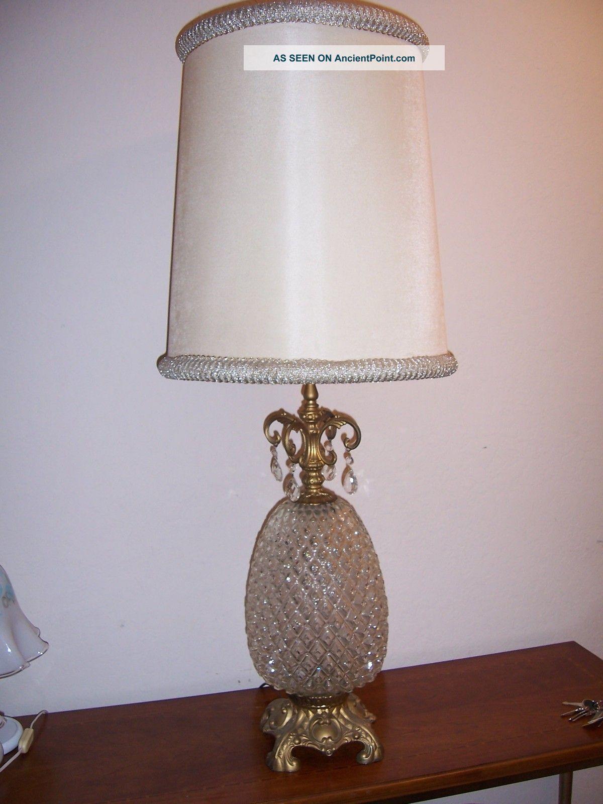 Vintage Glass Pineapple Table Lamp Hollywood Art Deco Swag Light Retro