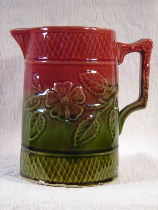 Antique English Mid 19th Century 2 - Toned Pottery Pitcher W/ Majolica Glaze photo