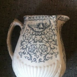Antique Victorian Hanley English Semi Porcelain Pitcher Cir 1868 - 1872 photo