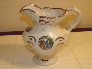 1868 Vintage Victorian Pitcher With Gold Trim photo