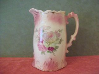 Vintage Victorian Shabby Roses Ceramic Pitcher Pink Cream Eden Rose Gorgeous photo