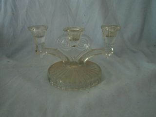 Vintage Glass Clear Candle Stick Holder Swirl Heart Candelabra Depression Era photo