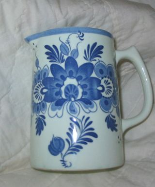 Milk Pitcher Flowers Blue Med.  Sz.  6 1/2