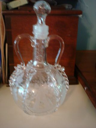 Antique Hand Blown Etched Decanter photo