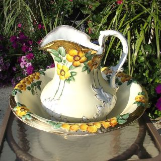 Antique Wheeling Pottery La Belle China Yellow Floral Pitcher & Basin Wash Bowl photo