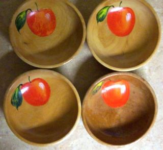 Antique Set Of 4 Wood Wooden Bowls Apple Pattern Hand Painted Salad Cereal Fruit photo