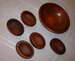 Large,  Vintage Oval Wooden Salad Bowl With 5 Salad Dishes Signed Munising,  Haiti photo