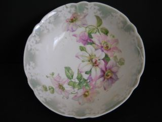 Vintage Hand Painted Porcelain Bowl~pinks & Lavender Flowers - Marked - 9