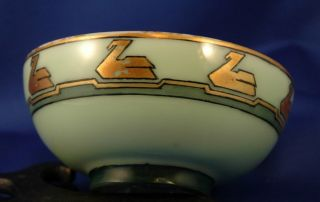 Sm Green Bowl W/ Handpainted Gilt Swans Art Deco & Egyptian Appearance photo