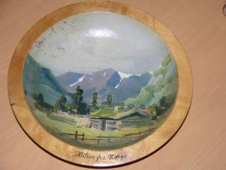 Vintage Norwegian Norway Handmade Hand Painted Wooden Bowl 9