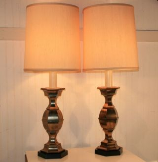 Pair Brass Stiffel Candlestick Table Lamps Hollywood Regency James Mont Style photo