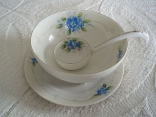 3 Pce Handpainted Nippon Footed Serving Bowl W.  Saucer & Ladle photo