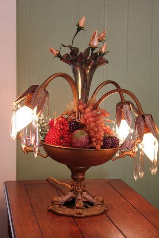Antique Ca.  1920 Griffin Lamp Tulip Lights Prisms Bowl Epergne photo