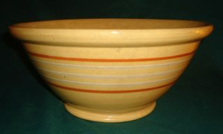 Antique Footed Dough Bowl Primitive Large Yellow Ware Mocha / White 5 Stripes photo