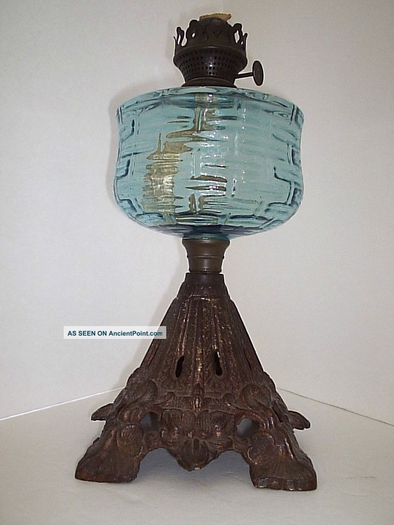 antique blue glass font oil lamp w white marble base cleaned pictures. Black Bedroom Furniture Sets. Home Design Ideas