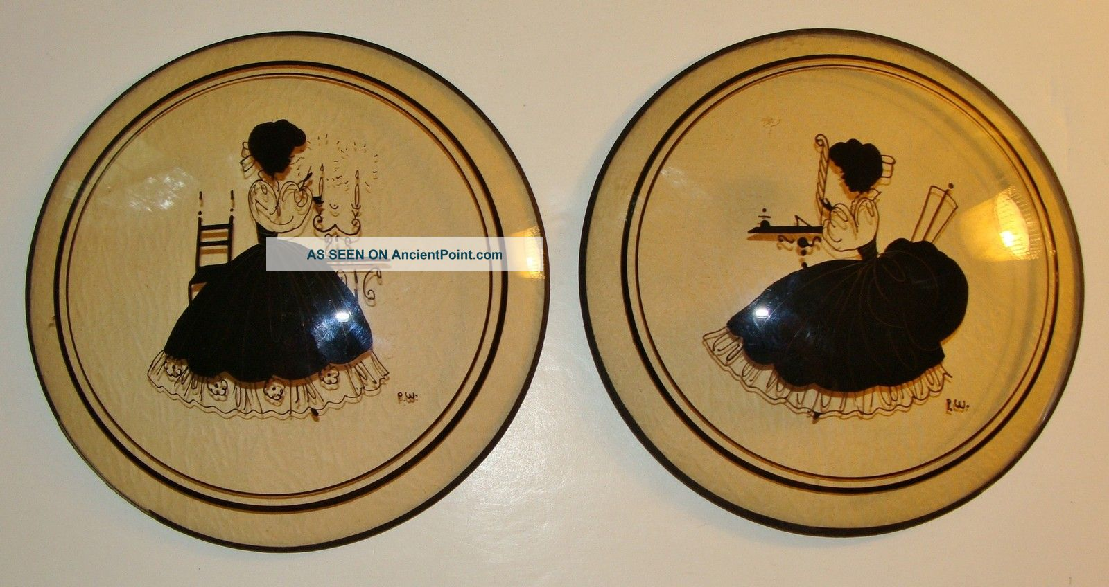 Pr Charming Vtg 30 ' S Peter Watson Rnd Convex Silhouette Pictures~pretty Ladies Other photo