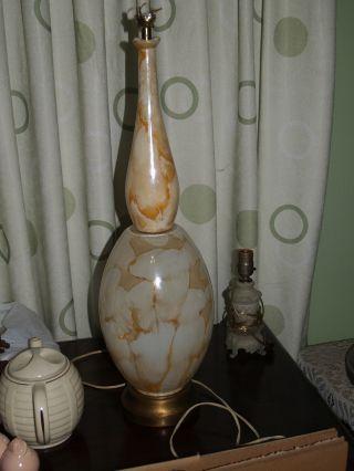 Vintage Mid Century Modern Hollywood Regency Modern Art Glass Table Lamp photo