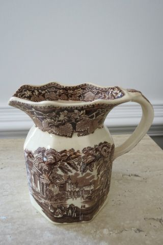 Vintage Mason ' S Ironstone Vista England Brown Transferware Pitcher photo