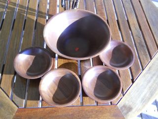 (8) Different Type & Size Of Walnut Bowls.  2 Marked As Ozark Walnutware photo