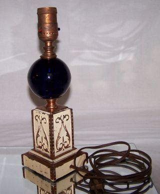 Antique Victorian Scrolled Solid Copper Cobalt Blue Glass Ball Lamp 11