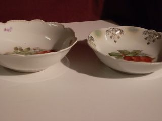 German Porcelain Strawberry Bowls - 2 Similar Bowls photo