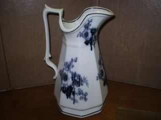 Antique Staffordshire Flow Black Transferware Pitcher Large 12 Inches Circa 1860 photo