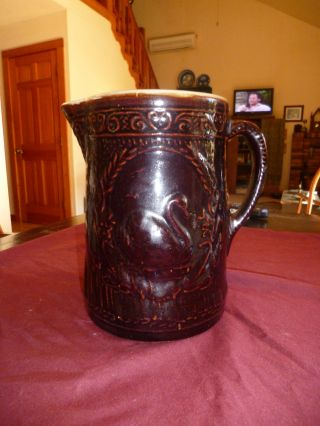Antique Brown Majolica Primitive Pitcher W/ Swan photo