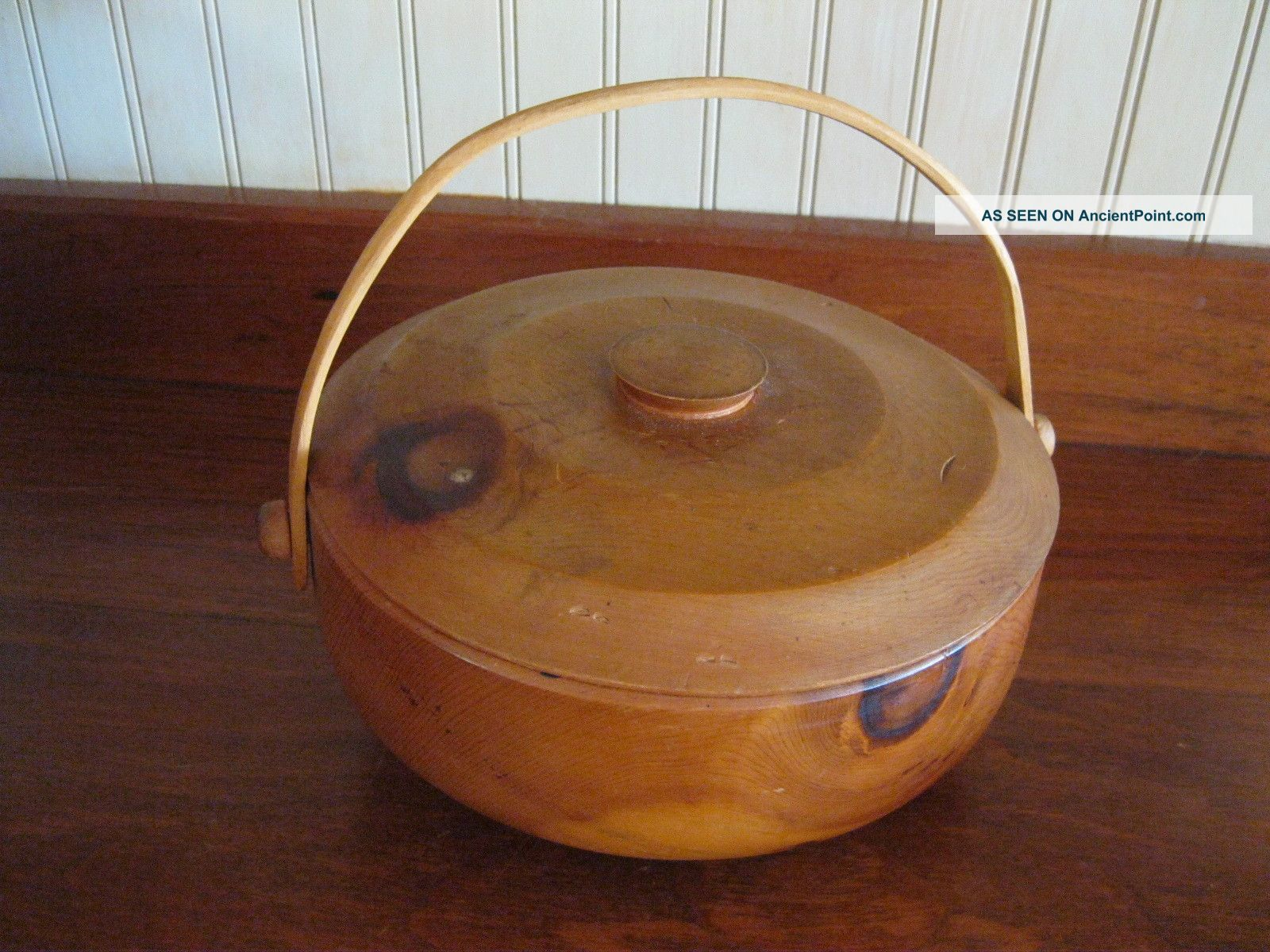 Old Turned Wooden Treen Bowl Basket Fotted With Lid Bowls photo