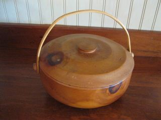 Old Turned Wooden Treen Bowl Basket Fotted With Lid photo