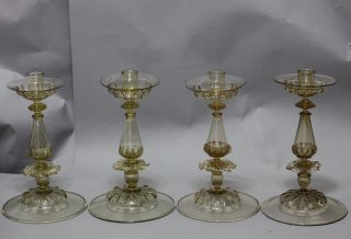 Antiques 2 Pair Of Venetian Candlesticks Early 1900s Murano Italy Mouth Blown photo