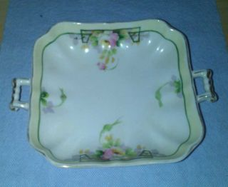 Nippon Hand Painted Candy Dish W/handles photo