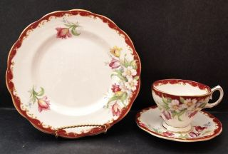 Bell China Tea Cup,  Saucer And Plate Narcissus Pattern photo
