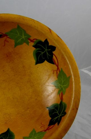 Vintage Mid Century Munising Handpainted Ivy Wooden Salad Bowl With Legs photo