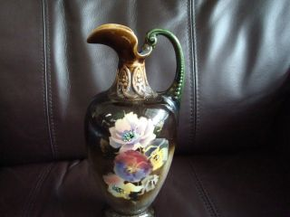 Unique Vintage Pottery Pitcher - Brown With Flower Motif photo