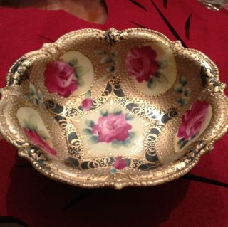 Fabulous Ornate Prussia Rose Gold Candy / Nut Dish Bowl Pearlized photo