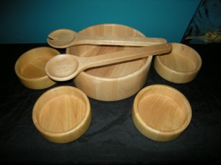 Wooden Salad Bowl Serving Set W/ Tongs Xlnt photo