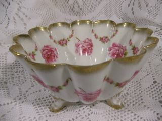 Antique Kuno Steinmann Porcelain Bowl Bridal Roses A La France Made In Germany photo