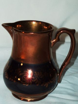 English Luster Antique Pottery Creamer Pitcher Lusterware Copper Lustre photo
