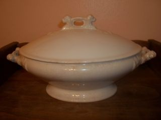Antique White Serving Bowl - Circa 1855 - 1883,  Lion Handles - Rare - Over 130 Years Old photo