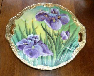 Antique Porcelain Bowl Tray Plate Limoges German Paris Porcelain? Iris & Gilt photo
