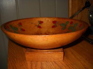 Vintage Wooden Pedestal Wood Fruit Bowl Engraved Strawberry Design Wood Bowl photo