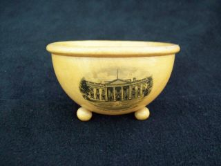 Antique Mauchline Ware Treen Wooden Bowl